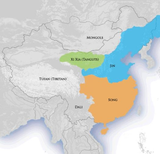 Location of Jin dynasty, 1115–1234