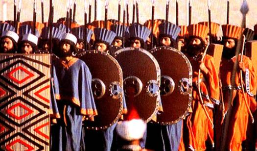 Modern reenactors of the Immortals in their ceremonial dress at the 2,500-year celebration of the Persian Empire.