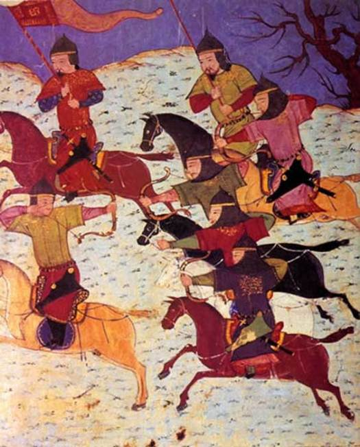 Mongol cavalrymen during the time of the Mongol conquest used a smaller bow suitable for horse archery.