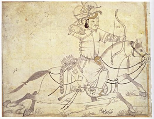 A Mongol horse archer in the 13th century.