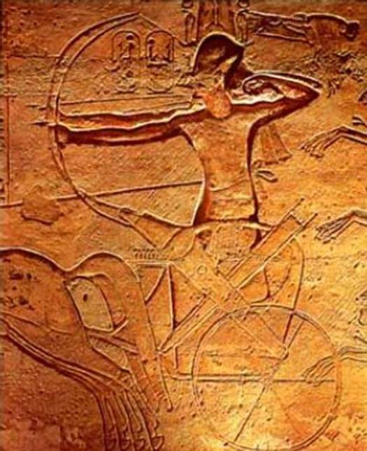 Ramses II at the Battle of Kadesh (relief at Abu Simbel)