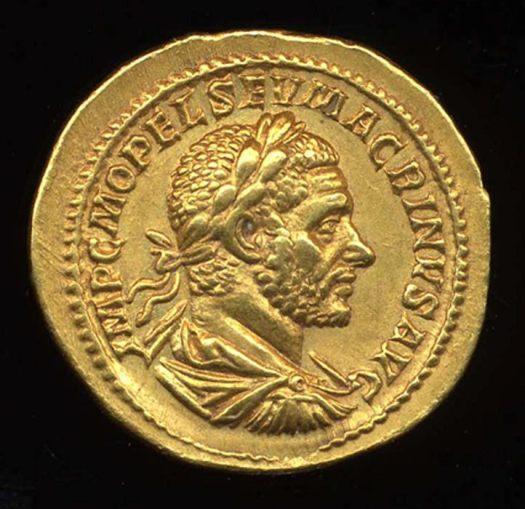 Roman coin featuring Macrinus
