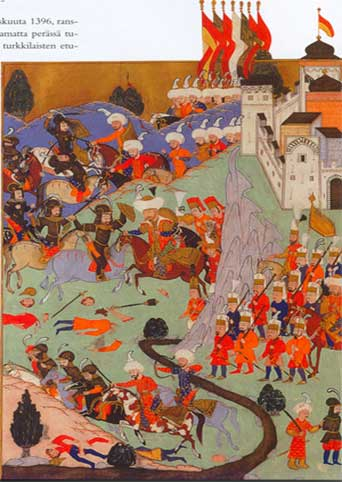 The Battle of Nicopolis, as depicted by Turkish miniaturist in 1588. (Public Domain)