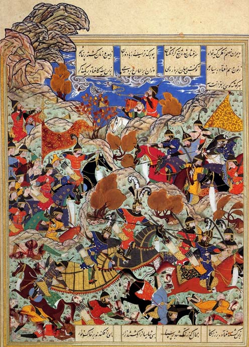 Timur's army battles Egyptian forces.