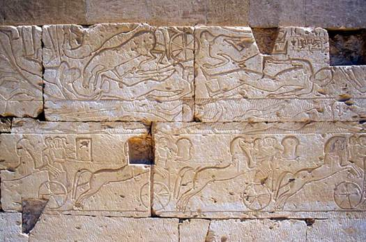 Western outer wall: showing Qadesh battle, Temple of Ramesses II, Abydos, Egypt.