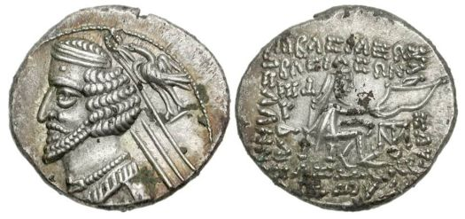 A coin face depicting King Phraates IV of Parthia. (Classical Numismatic Group, Inc. www.cngcoins.com