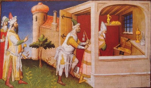 Medieval depiction of Hulegu (left) and Caliph Al-Musta'sim.