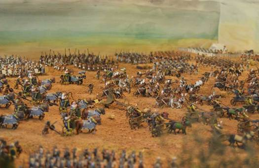 A diorama of Egyptian soldiers.