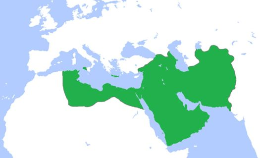 Map of the Abbasid Caliphate at its greatest extent, c. 850.
