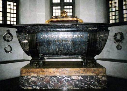 After his death, Gustavus's wife initially kept his body and his heart. His remains (including his heart) now rest with his sarcophagus at Riddarholm Church, Stockholm, Sweden.