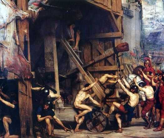Siege engines were employed by the Roman army during