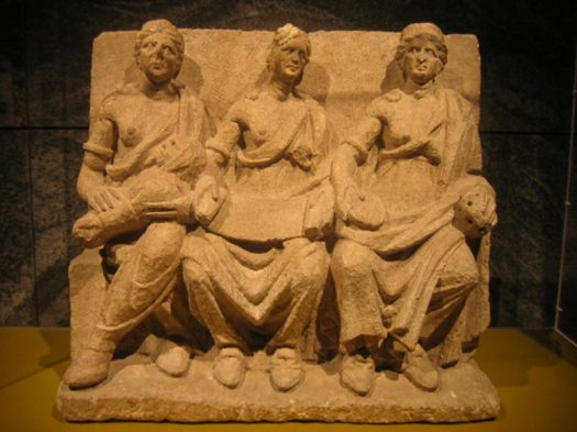 Terracotta relief of three goddesses. Representational image.
