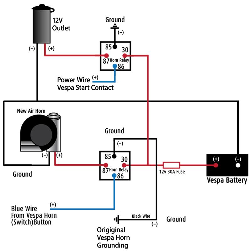 12 volt horn relay wiring diagram bazooka speaker modern vespa : lx-150: installing a stebel nautilus air