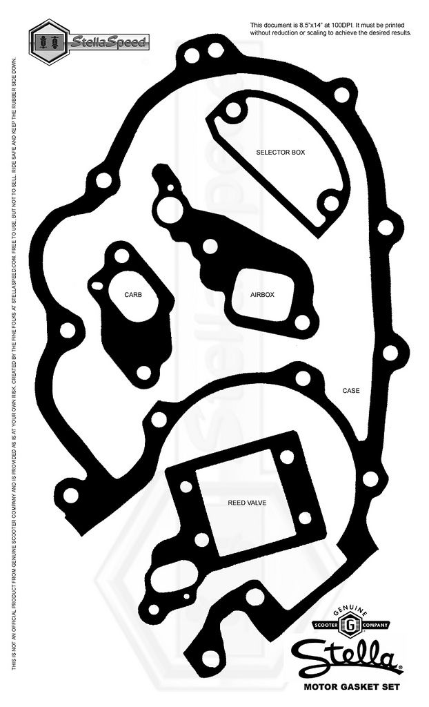 Modern Vespa : P series shift box gasket template