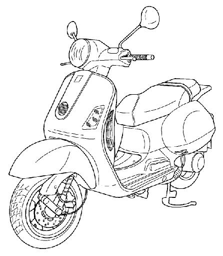 Modern Vespa : 3 View Drawings of the GT