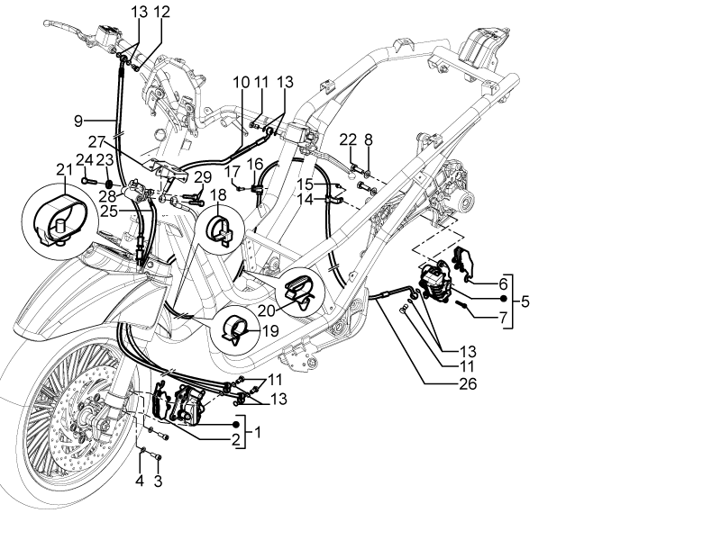 Modern Vespa : BV 350 linked brakes question