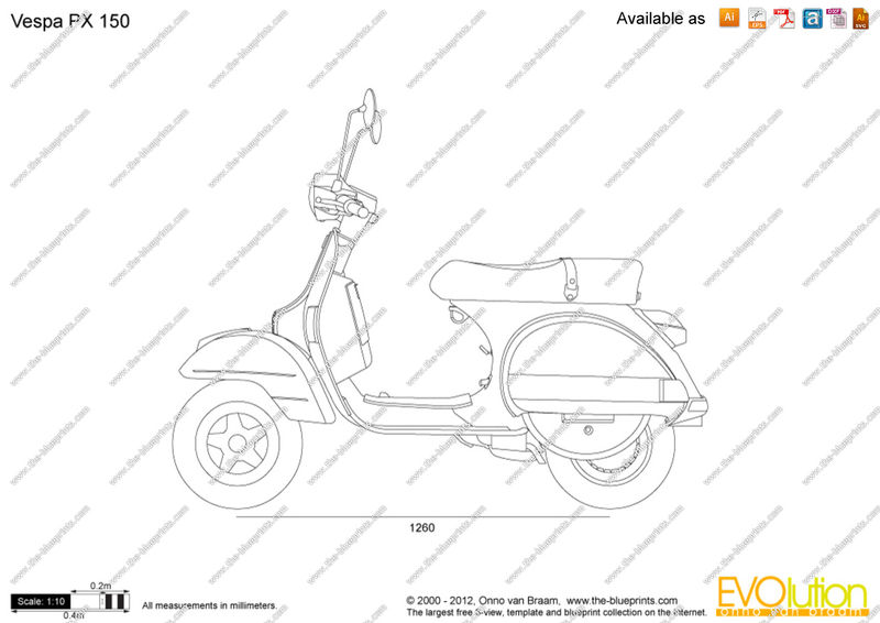 Modern Vespa : Vespa PX outline drawing?