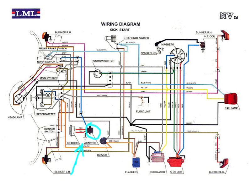 110 Wiring Diagram For Mini Bikes Modern Vespa Is There And Adaptor On Lml Nv Vespa For Horn