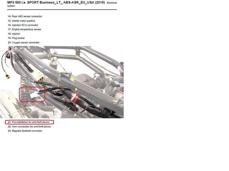 Modern Vespa : MP 3 500 sport alarm socket
