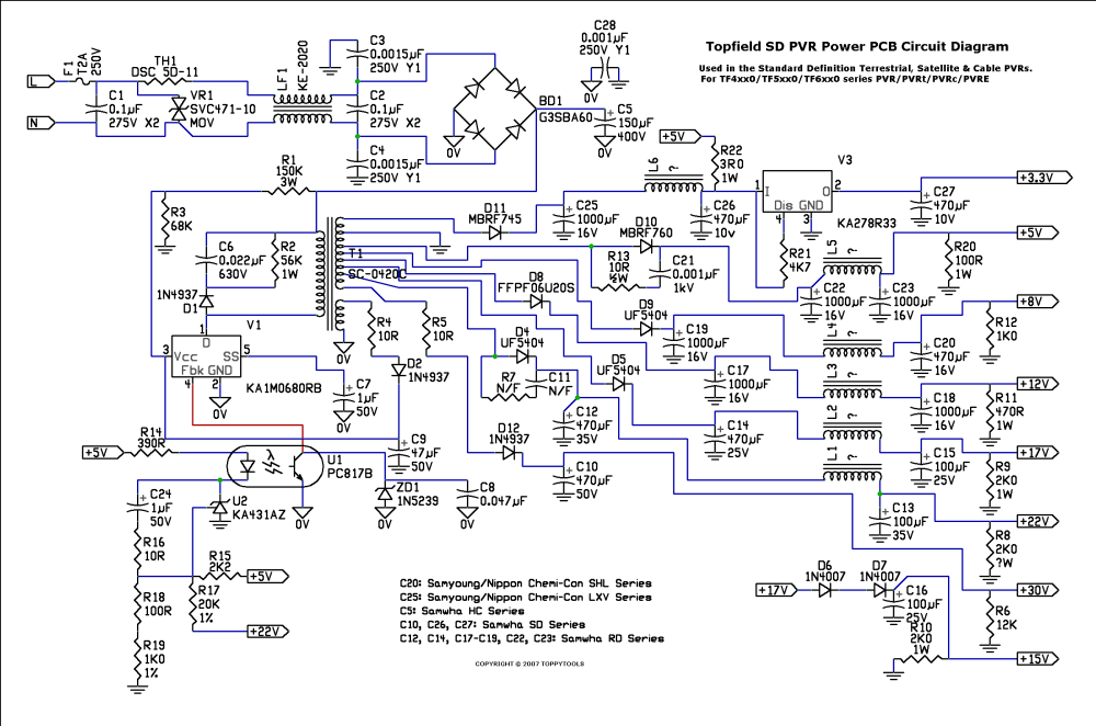 medium resolution of topfield power board circuit diagram click for full size image
