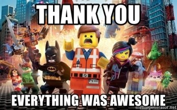 Image result for lego movie thank you, being thankful