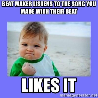 beat maker listens to