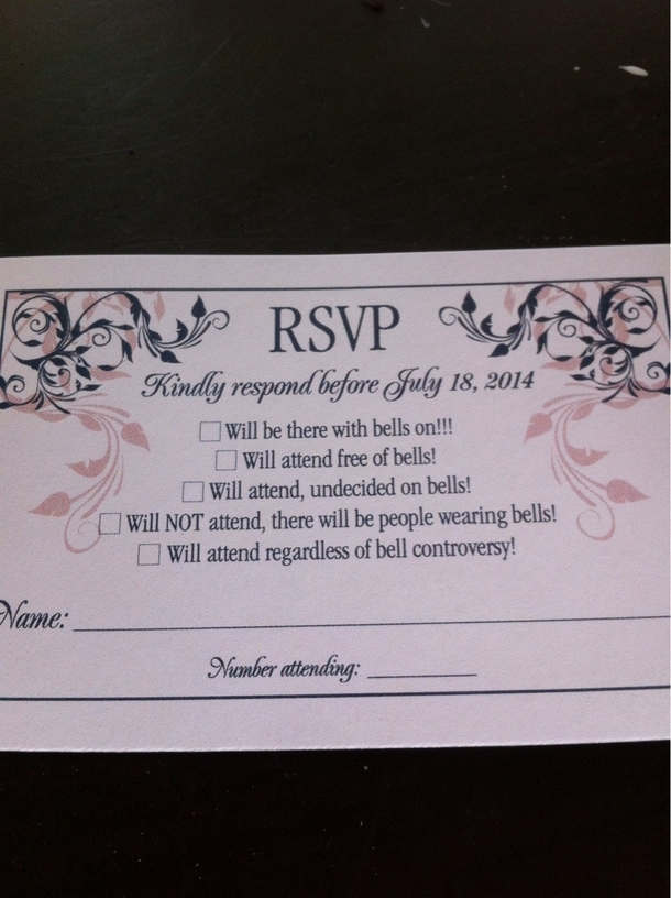 Just Got My Brothers Wedding Invitation This Is Their Reply Card