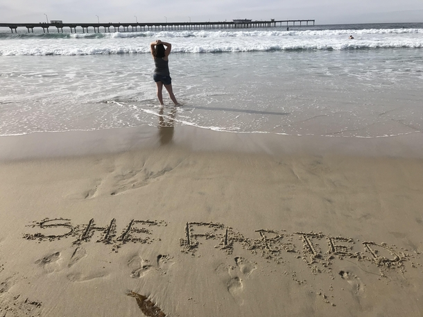My Wife Wanted A Picture Of Her On The Beach During Holiday I Improvised A Little Meme Guy