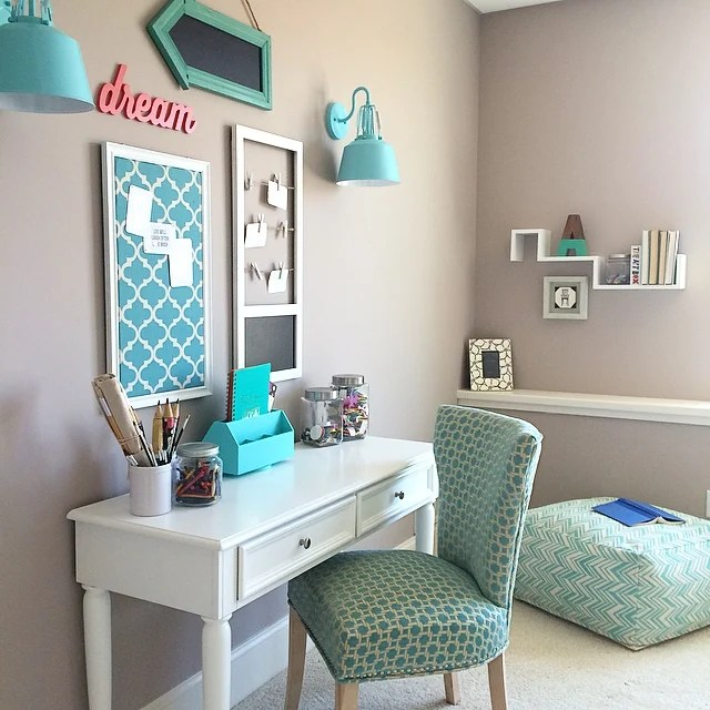 pink desk chair target proper posture turquoise teen room and organized desk/craft table