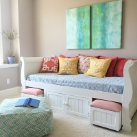Turquoise Teen room and organized desk/craft table