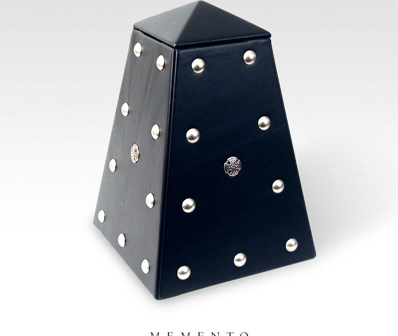 Customer Care – Black Leather Rock Obelisk Urn
