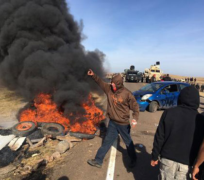 Fires set at the Dakota Pipeline protests