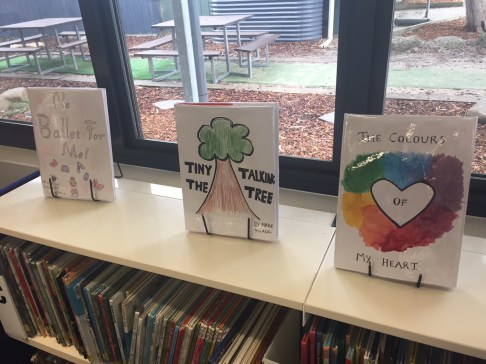 An image of books made by children at a primary school.