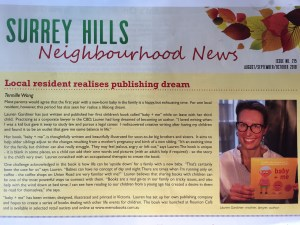 Picture of an article in the Surrey Hills Neighbourhood News about baby + me and Lauren Gardiner.