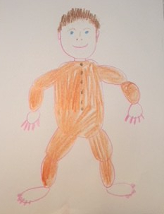 This is a hand drawing of a baby. There is quite a bit of detail in this picture, suitable for older children to draw.