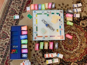 Photograph of a game of Monopoly