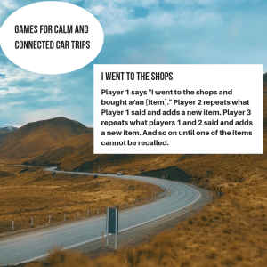 Picture of a road with text giving an idea for a game to play in the car with kids.