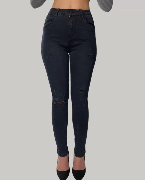 High-Wiast-Zwart-Spijkerbroek