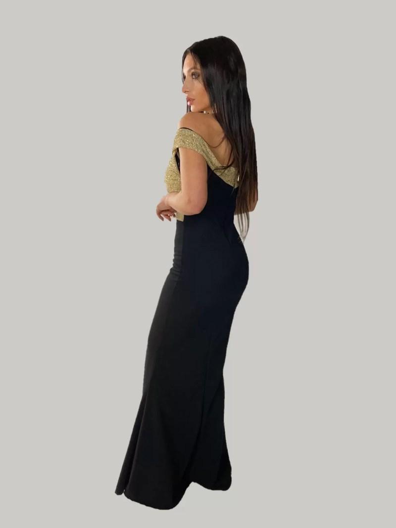 zwart-met-goud-off-shoulder-jurk