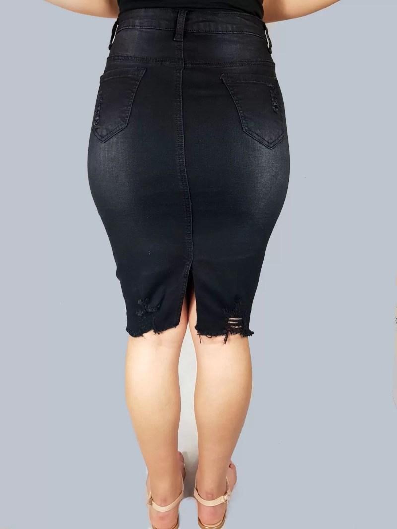 zwarte strech spijker rok dames