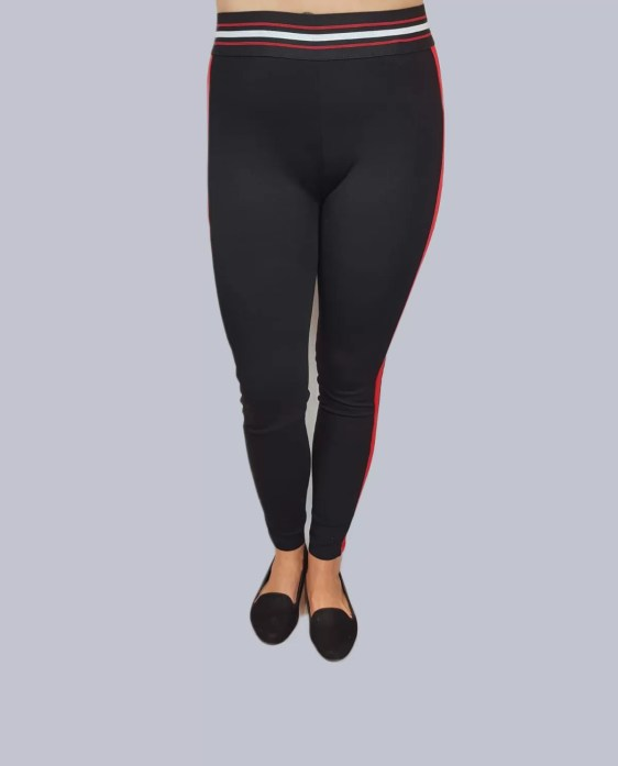 Zwart Legging Broek Met Rode Streep