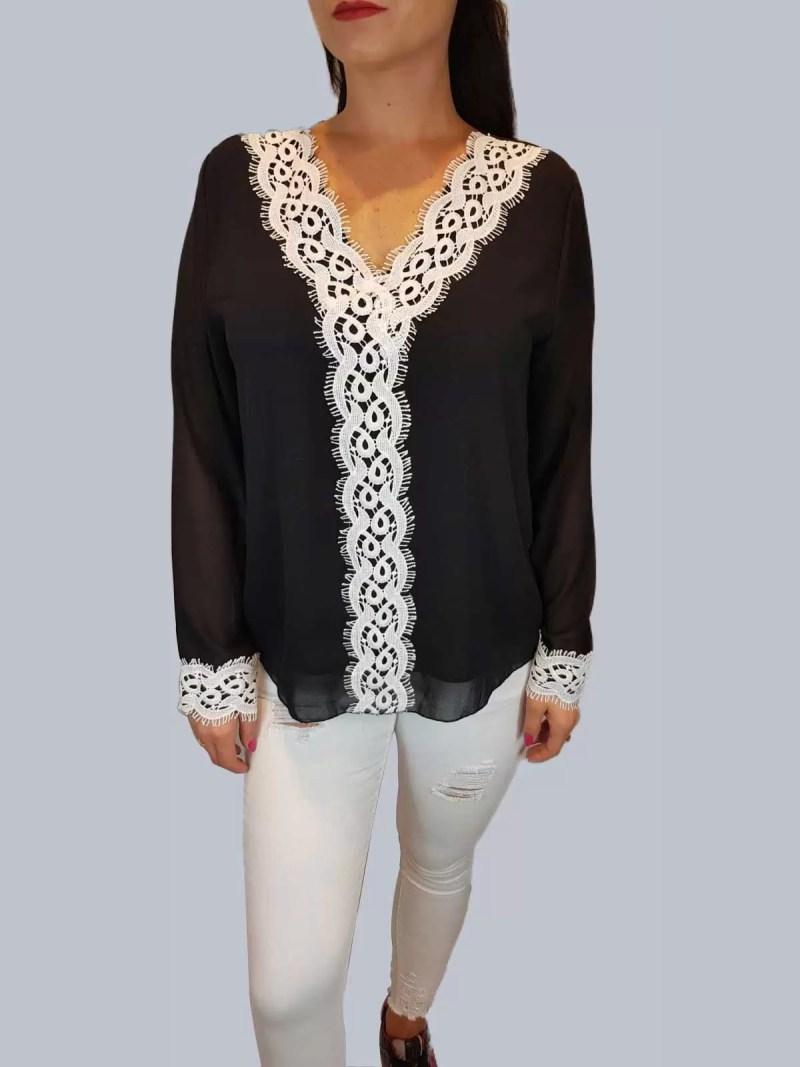 zwarte witte blouse
