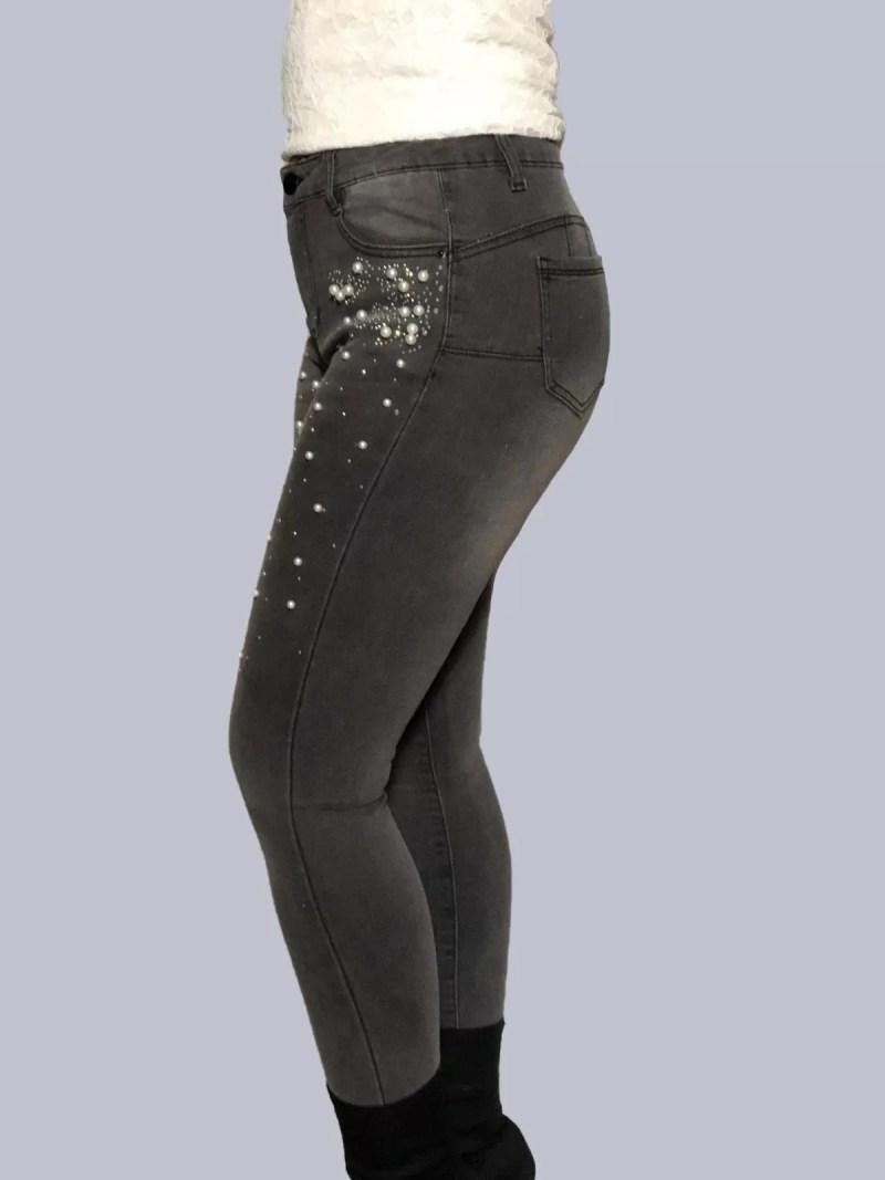 grijs broek met parels