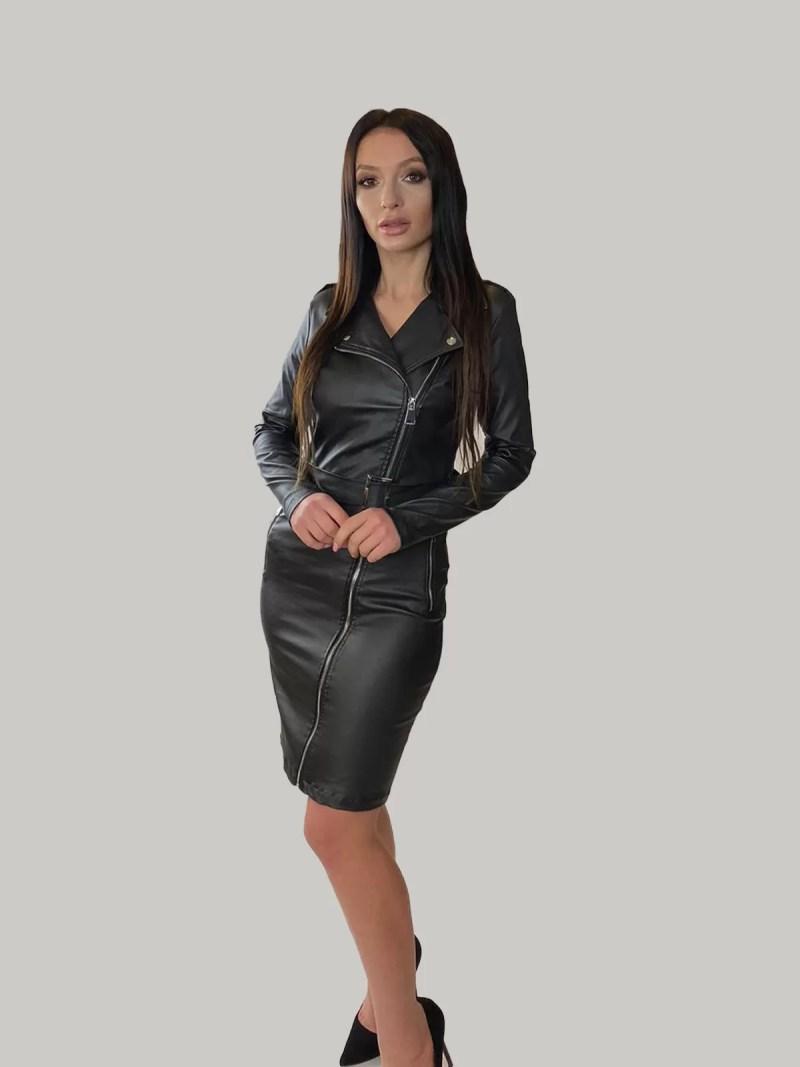 leren-jurk-jas-zwart