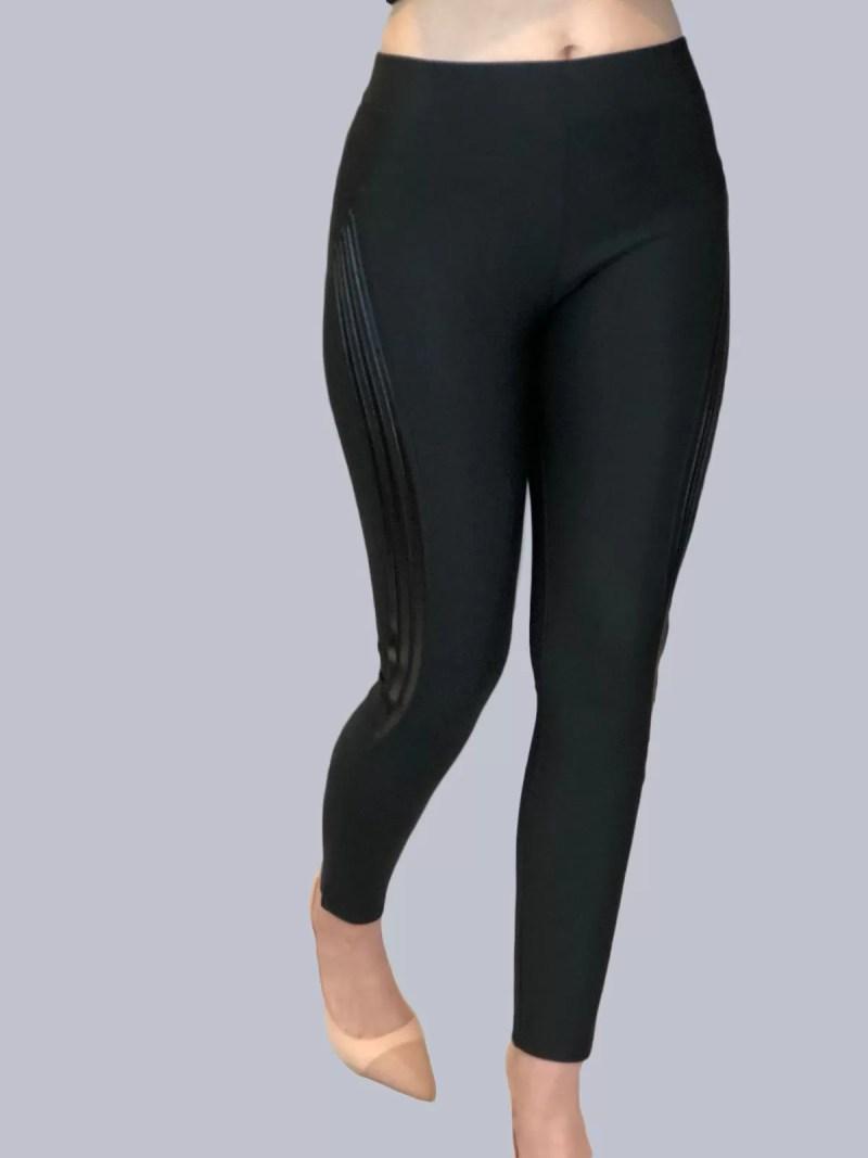Zwarte Stretch Legging Broek met strepen