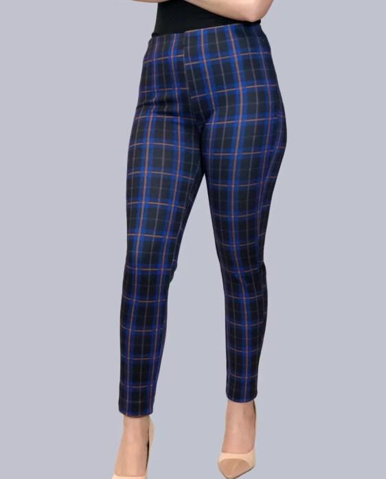 ruit legging broek blauw dames