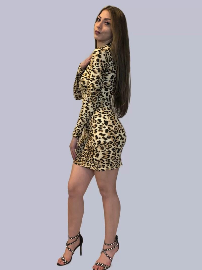 panter print jurk met strech Panter Print Jurk Strech