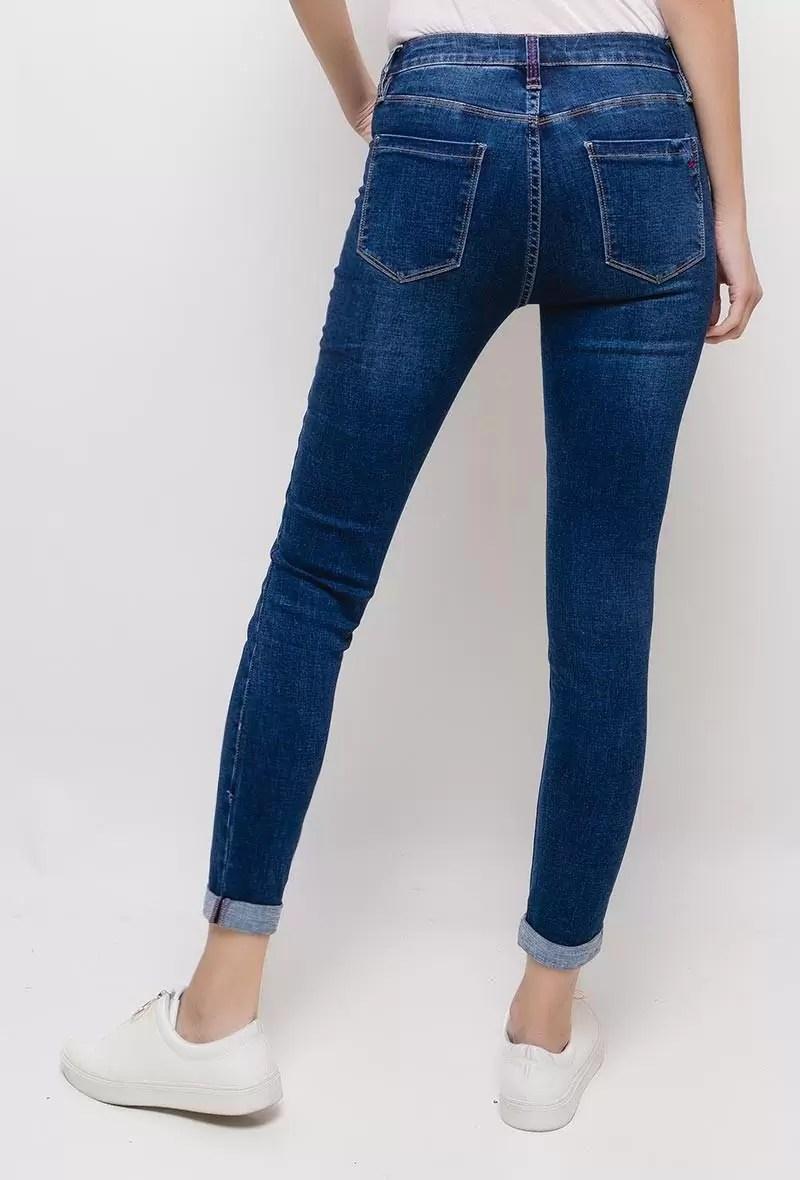 simple broek terug Simple Strech Spijkerbroek - Queen Hearts