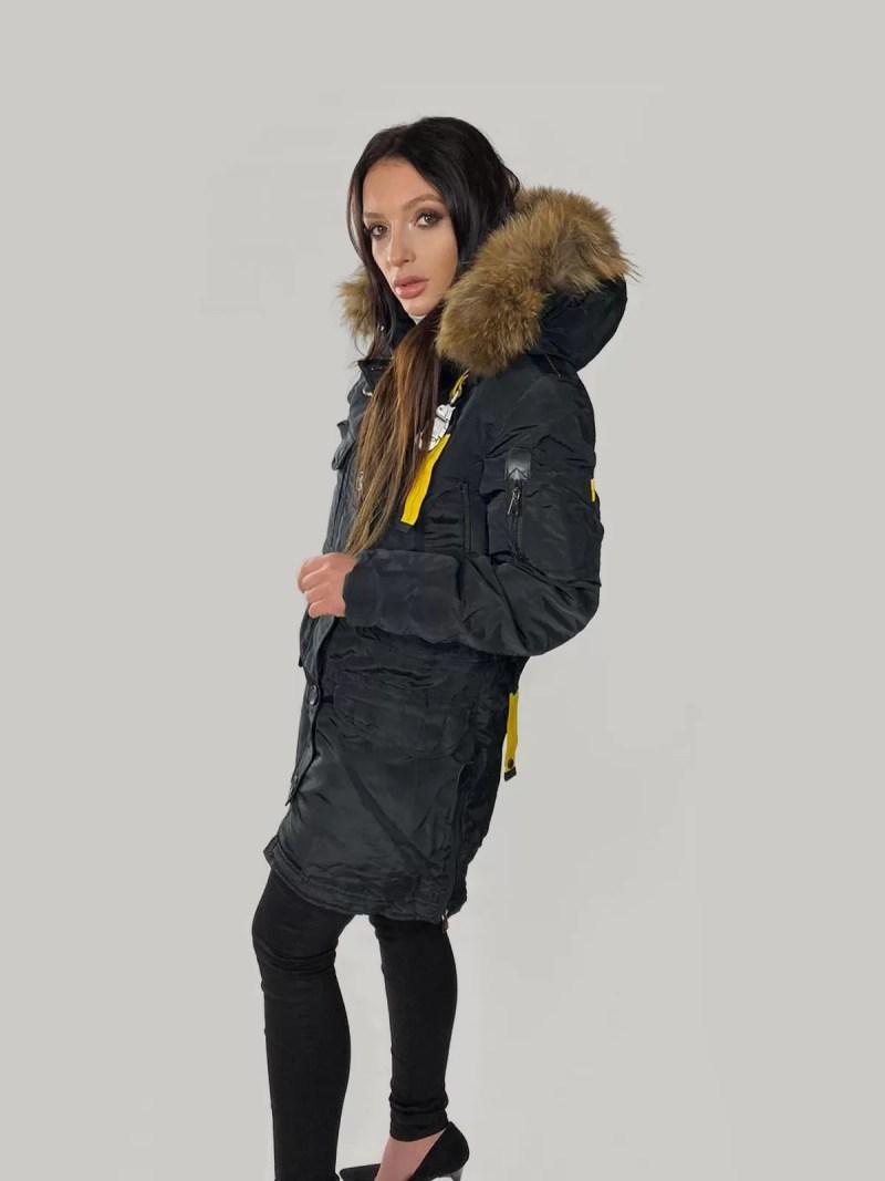 zwart jas met bont
