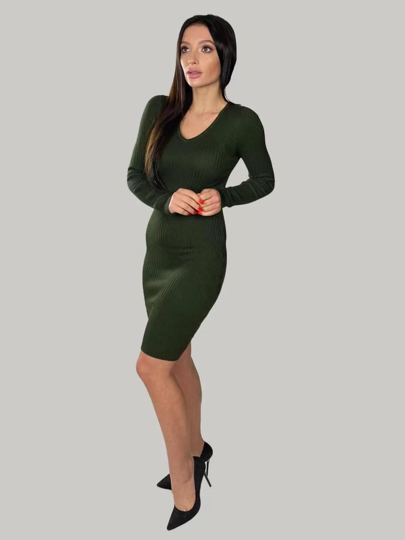 groen-Gebreide-jurk-met-V-hals